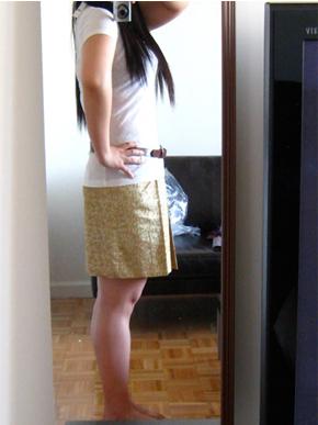 JCrew Metallic Moss Jacquard Skirt