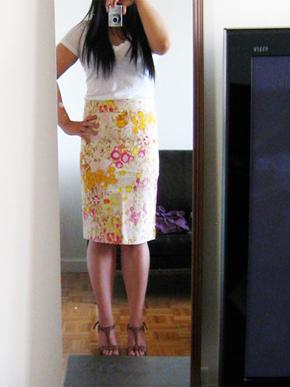 J.Crew Sunshine Peony Pencil Skirt
