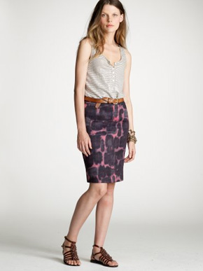 J.Crew Ink Blossom Pencil Skirt