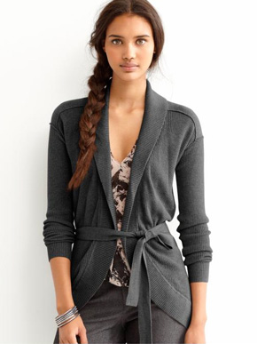 Banana Republic Pima Cotton/Wool Shawlneck Cardigan