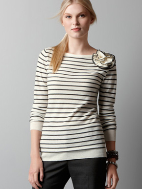 Ann Taylor Loft Striped Sweater With Corsage Crewlade