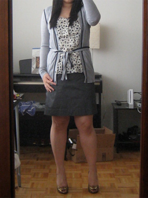 Ann Taylor Loft Tipped Belted Cardigan