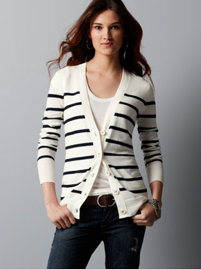 Ann Taylor Loft Striped V-Neck Cardigan